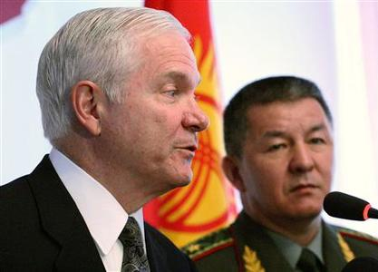 U.S. Secretary of Defense Robert Gates speaks during a joint news conference with Kyrgyzstan's Defence Minister Ismail Isakov (R) greets in Bishkek, June 5, 2007. Gates said on Tuesday Washington's agreement to use a military air base in Kyrgyzstan was necessary to support the war in Afghanistan. REUTERS/Vladimir Pirogov