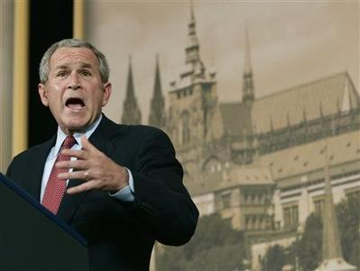 President Bush delivers remarks at Czermin Palace in Prague, June 5, 2007. REUTERS/Jim Young