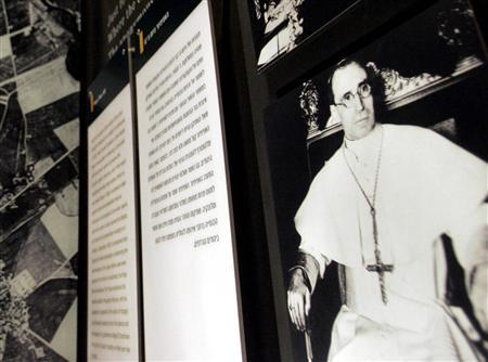 An image depicting Pope Pius XII at Yad Vashem Holocaust Museum in Jerusalem, April 15, 2007. The Vatican tried to enroll Roman Jewish men in its security forces in 1943 in order to save them from the Nazis, the Vatican's second in command said on Tuesday, rejecting charges that wartime Pope Pius XII was anti-Semitic. REUTERS/Yonathan Weitzman