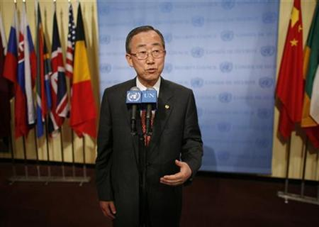 U.N. Secretary General Ban Ki-moon speaks at the United Nations in New York, June 13, 2007. Ban joined Western nations on Wednesday in criticizing the world body's own Human Rights Council for picking on Israel as part of an agreement on its working rules. REUTERS/Chip East