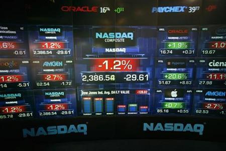 File phto of losses to the NASDAQ Market seen on a board in Times Square in New York March 1, 2007. Shareholder class-action lawsuits rarely go to trial, but a long-running case against JDS Uniphase, a late 1990s stock market darling that nearly collapsed when the tech bubble burst, could soon be an exception. REUTERS/Lucas Jackson