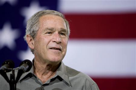 President George W. Bush speaks during Independence Day celebrations at the West Virginia Air National Guard 167th Airlift Wing in Martinsburg, West Virginia July 4, 2007. A U.S. appeals court in Cincinnati on Friday ordered the dismissal of a lawsuit challenging Bush's domestic spying program adopted after the September 11 attacks. REUTERS/Joshua Roberts