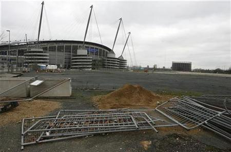 General view showing the site of Britain's first supercasino in the Eastlands area of Manchester, January 30, 2007. The plan to build a Las Vegas-style supercasino is ''pretty much dead in the water'', a source close to government said on Wednesday. REUTERS/Phil Noble