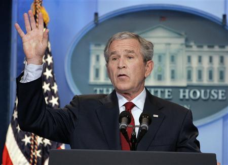President Bush gestures as he holds his first official news conference in the remodeled James S. Brady Press Briefing Room at the White House, July 12, 2007. REUTERS/Larry Downing