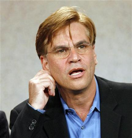 Writer and executive producer Aaron Sorkin is pictured in Pasadena, California in this file photo dated July 21, 2006. Sorkin, creator of acclaimed TV drama ''The West Wing,'' has signed with DreamWorks Studios to write a screenplay about the sensational trial of the 1968 anti-war activists known as the Chicago Seven. REUTERS/Mario Anzuoni