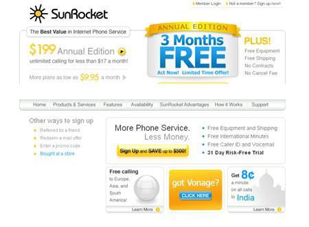 A screenshot of SunRocket.com, taken on July 17, 2007. SunRocket Inc., the second biggest U.S. supplier of Internet phone services, appeared to have shut down its business on Monday without notifying its customers, which total more than 200,000. REUTERS/www.sunrocket.com