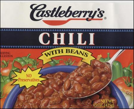 A Castleberry's Chili product under recall is seen in an undated image from a U.S. Department of Agriculture press release. A recall of canned meat products and dog food made at a Georgia plant due to botulism fears could involve tens of millions of cans that pose an urgent public health threat, U.S. officials said on Monday. REUTERS/USDA/Handout