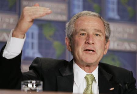 U.S. President George W. Bush seen during a discussion at the White House Conference on the Americas, in Virginia in this July 9, 2007 file photo.Bush has lauded a drive in Bangladesh against corruption and terrorism as the country's army-backed interim government prepares to hold a general election late next year.REUTERS/Larry Downing