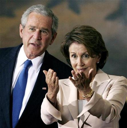 Speaker of the House Nancy Pelosi gestures as she and President Bush take part in a ceremony in the Capitol to award the Congressional Gold Medal to Nobel Prize winner Dr. Norman E. Borlaug, in Washington July 17, 2007. REUTERS/Kevin Lamarque