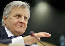 <p>Il presidente della Banca Centrale Europea Jean-Claude Trichet. REUTERS/Ezequiel Scagnetti (BELGIUM)</p>