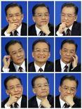 <p>Il premier cinese Wen Jiabao ripreso in diversi momenti duranate una conferenza stampa. REUTERS/Claro Cortes IV (CHINA)</p>
