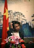 <p>Госсекретарь США Кондолиза Райс на пресс-конференции в Пекине 29 июня 2008 года. Госсекретарь США Кондолиза Райс сообщила, что провела конструктивные переговоры о размещении элементов американской системы противоракетной обороны в Польше с польским министром иностранных дел, однако отказалась предположить, когда стороны могут достичь договоренности по этому вопросу (REUTERS/Oded Balilty)</p>