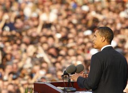 Democratic presidential candidate Senator Barack Obama during his speech in front of the Victory Column (Siegessaeule) in Berlin, July 24, 2008. REUTERS/Tobias Schwarz