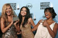 "<p>Le attrici Ashley Tisdale (sinistra), Vanessa Hudgens (centro) e Monique Coleman, protagoniste della serie Disney ""High School Musical 2"". REUTERS/Mario Anzuoni (Usa)</p>"