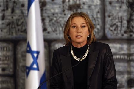 Israel's Foreign Minister Tzipi Livni speaks during a joint news conference with President Simon Peres (unseen) in his residence in Jerusalem, September 22, 2008.REUTERS/Ronen Zvulun