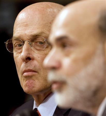 U.S. Treasury Secretary Henry Paulson (L) listens to Federal Reserve Chairman Ben Bernanke (R) testify before the Senate Banking Committee on Capitol Hill September 23, 2008. REUTERS/Larry Downing