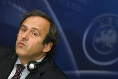 <p>Presidente da Uefa, Michel Platini, durante reunião da entidade em Bordeaux, na França, nesta sexta-feira. REUTERS/Olivier Pon</p>