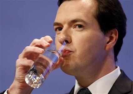 Shadow chancellor George Osbourne drinks water during his speech to the Conservative Party annual conference, in Birmingham, September 29, 2008. REUTERS/Stephen Hird