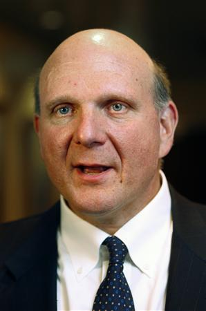 Microsoft Chief Executive Steve Ballmer after his talks with Norwegian Prime Minister Jens Stoltenberg in Oslo September 30, 2008. Microsoft will build a new base for search technology in Norway, with a main office in Oslo, plus offices in Trondheim and Tromsoe. REUTERS/Erlend Aas/Scanpix