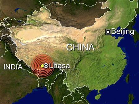 At least 30 people were killed in a 6.6-magnitude earthquake which was centered near the Tibetan capital of Lhasa, according to Xinhua, which cited the local government. REUTERS/Graphics