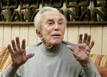 "<p>Actor Kirk Douglas, 90, is photographed during an interview about his life, film career and his new book ""Let's Face It,"" at his home in Beverly Hills, California in this April 26, 2007 file photo. REUTERS/Fred Prouser/Files</p>"