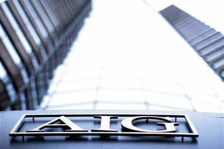 The logo of American International Group (AIG) is seen at their offices in New York September 18, 2008. REUTERS/Eric Thayer