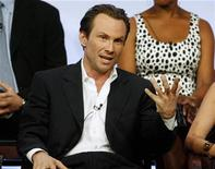 "<p>Actor Christian Slater, star of the series ""My Own Worst Enemy,"" speaks to television critics at the NBC Universal Summer press tour in Beverly Hills, California, July 21, 2008. REUTERS/Fred Prouser</p>"
