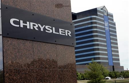 A new Chrysler sign is seen after the DaimlerChrysler sign was removed from the front of the Chrysler headquarters in Auburn Hills, Michigan in this August 4, 2007 file photo. REUTERS/Rebecca Cook/Files