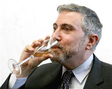 2008 Nobel prize winner in economics, Princeton University professor Paul Krugman enjoys champagne during a reception on the campus of Princeton University in Princeton, New Jersey, October 13, 2008. REUTERS/Tim Shaffer