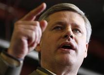 <p>Conservative leader and Canada's Prime Minister Stephen Harper speaks during a campaign rally at the airport in Fredericton, New Brunswick October 13, 2008. Canadians will head to the polls in a federal election October 14. REUTERS/Chris Wattie</p>