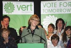 <p>Green Party leader Elizabeth May stands at the podium during a speech at a post election rally in New Glasgow, Nova Scotia, October 14, 2008. REUTERS/Paul Darrow</p>