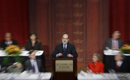 Federal Reserve Chairman Ben Bernanke addresses the Economic Club of New York regarding financial markets in New York, October 15, 2008. REUTERS/Lucas Jackson