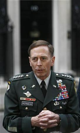 U.S. General David Petraeus addresses journalists after a meeting with British Prime Minister Gordon Brown at 10 Downing Street in London September 29, 2008. REUTERS/Andrew Winning