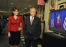 "<p>Republican vice-presidential nominee Alaska Governor Sarah Palin stands next to producer Lorne Michaels during an episode of NBC's ""Saturday Night Live"" in New York October 18, 2008. REUTERS/Dana Edelson/NBC/Handout</p>"