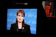 <p>Republican vice presidential nominee Alaska Governor Sarah Palin is seen on a television monitor during her vice presidential debate with Democratic vice presidential nominee Senator Joe Biden at Washington University in St. Louis, Missouri October 2, 2008. REUTERS/Carlos Barria/File</p>