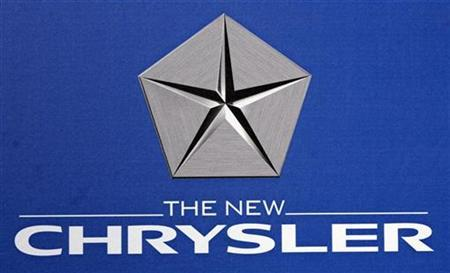 The Chrysler LLC logo is seen during a news conference at Chrysler Headquarters in Auburn Hills, Michigan August 6, 2007. REUTERS/Rebecca Cook