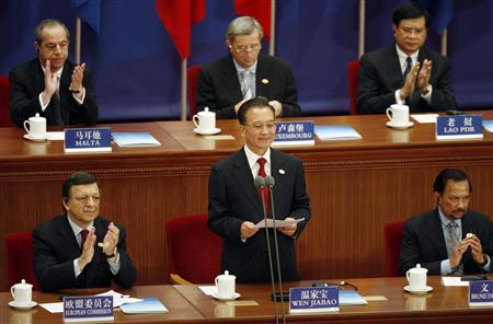 China's Premier Wen Jiabao speaks at the opening ceremony of the 7th Asia-Europe Meeting (ASEM) at the Great Hall of the People in Beijing October 24, 2008. REUTERS/Michael Reynolds/Pool