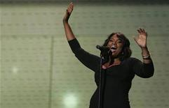 <p>Actress and singer Jennifer Hudson performs at the Wal-Mart Shareholders Meeting in Fayetteville, Arkansas June 6, 2008. REUTERS/Jessica Rinaldi</p>
