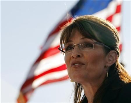Republican vice-presidential nominee Alaska Governor Sarah Palin speaks at a campaign rally with Republican presidential nominee Senator John McCain in Green, Ohio, October 22, 2008. REUTERS/Brian Snyder