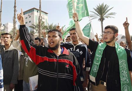 Palestinian members of the Islamic block loyal to Hamas movement take part in a protest in Gaza November 9, 2008. REUTERS/Suhaib Salem