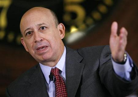 Lloyd Blankfein, Chairman and CEO of Goldman Sachs & Co., speaks at the Wall Street Journal Deals & Deal Makers conference, held at the New York Stock Exchange in this June 27, 2007 file photo. Goldman Sachs Group Inc said on Sunday Blankfein and six other top officials will not get bonuses for 2008. REUTERS/Chip East