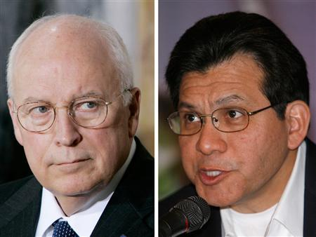 In this combination photo, Vice President Dick Cheney (L) is seen after a meeting with members of his economic advisory team at the Treasury Department in Washington August 8, 2007, and former attorney General Alberto Gonzales answers journalists' questions during a news conference in Cuernavaca, Mexico, June 8, 2007. REUTERS/Larry Downing/Henry Romero