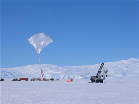 This handout picture shows scientists launching a balloon from Williams Field in Antarctica in December 2005 that is carrying a scientific instrument that detected possible evidence of so-called dark matter in space. It spotted an unexpected amount of very high energy cosmic ray electrons coming from an unknown source within about 3,000 light years of the solar system -- relatively close in astronomical terms. One explanation is that the electrons may have been spawned as dark matter particles collided with one another, triggering their mutual annihilation. Scientists think perhaps 25 percent of the universe is made up of dark matter, which is invisible and poorly understood. REUTERS/T. Gregory Guzik/Handout