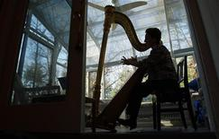 <p>Musician Felice Pomeranz plays her harp at her studio in Sudbury, Massachusetts, November 17, 2008. REUTERS/Brian Snyder</p>