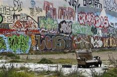 <p>A Graffiti painted wall is pictured on the site of the 'Tacheles' art house, a cultural centre in the ruins of a former department store in Berlin, November 4, 2008. REUTERS/Fabrizio Bensch</p>