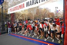 <p>Runners get ready to start at the 2008 Philadelphia Marathon in Philadelphia, Pennsylvania, November 23, 2008. REUTERS/Bill Foster/City of Philadelphia/Handout</p>