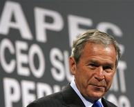 <p>President George W. Bush speaks at the APEC CEO Summit in Lima November 22, 2008. REUTERS/Kevin Lamarque</p>