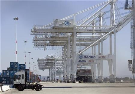 A ship full of containers is docked at the Oakland Port in a file photo. REUTERS/Kimberly White
