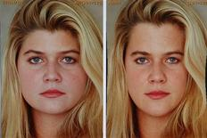 <p>Two pictures of a woman's face, one modified (R) and one unmodified, are seen on a computer monitor in the office of Professor Dani Lischinksi in Jerusalem, November 18, 2008. REUTERS/Baz Ratner</p>