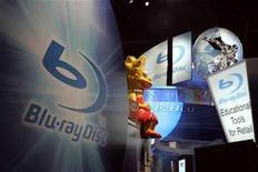 <p>A view of the Blu-ray booth is seen at the Consumer Electronics Show in Las Vegas, Nevada January 6, 2008. REUTERS/Steve Marcus</p>